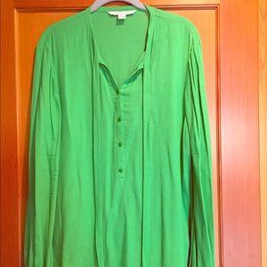 Green DVF bell sleeves silk top.